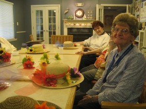 Hat-decorating-Marion-and-Mary-300x225