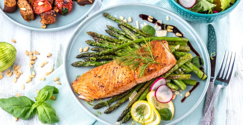 Salmon and roasted vegetable dinner. By being very selective about food choices, seniors can aim to maximize the nutritional value of the foods they consume.