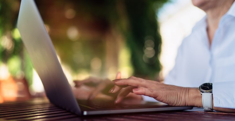 Senior woman following online safety guidelines.