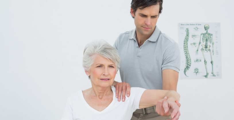 Physical therapist with a senior patient. PT is highly effective for those who are recovering from an injury, but it can also work as a preventative measure to help seniors maintain or regain strength and flexibility.