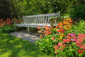 Bench with colorful flowers. Maryland's temperate climate and early spring weather results in an abundance of pollen most years and a high prevalence of hay fever and other seasonal allergies.