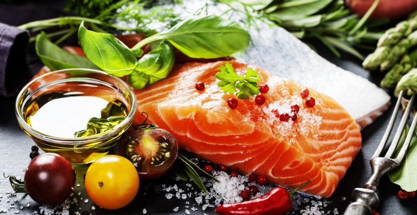Salmon, tomatoes,, olive oil and leafy greens are all examples of inflammation flighting foods.